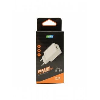 Įkroviklis buitinis Tellos su USB jungtimi U118 (2.1A)