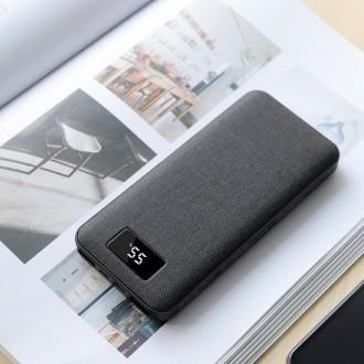Juoda išorinė baterija Power Bank Hoco J47 PD+QC 3.0 su LCD ekranu 10000mAh