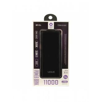 Juoda išorinė baterija POWER BANK Leslie LP006 11000mAh