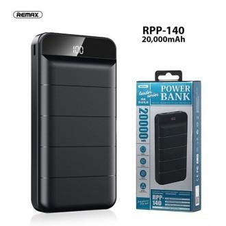 Juoda išorinė baterija Power Bank Remax RPP-140 20000mAh