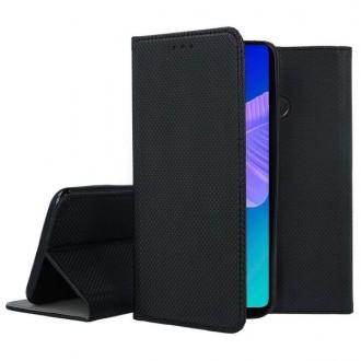 """Juodas atverčiamas dėklas Huawei P40 Lite E telefonui """"Smart Book Magnet"""""""