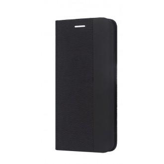 """Juodas atverčiamas dėklas Huawei P40 Lite / Nova 6 SE / Nova 7i telefonui """"Smart Senso"""""""