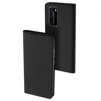 """Juodas atverčiamas dėklas Huawei P40 Pro telefonui """"Dux Ducis Skin"""""""