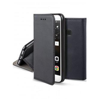 """Juodas atverčiamas dėklas Huawei P9 Lite telefonui """"Smart Magnet"""""""