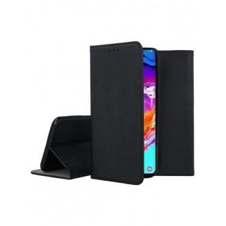 """Juodas atverčiamas dėklas Samsung Galaxy A705 A70 telefonui """"Smart Magnet"""""""