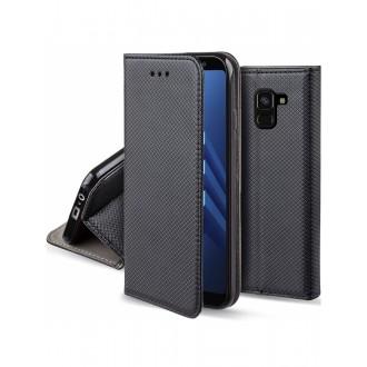 """Juodas atverčiamas dėklas Samsung Galaxy A8 2018 telefonui """"Smart  Magnet"""""""