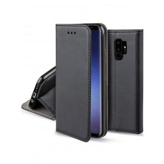 """Juodas atverčiamas dėklas Samsung Galaxy G965 S9 Plus telefonui """"Smart Magnet"""""""