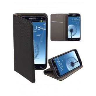 "Juodas atverčiamas dėklas Samsung Galaxy i9300 S3 / i9301 S3 Neo / i9300i telefonui ""Smart Book Magnet"""