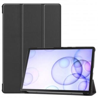 """Juodas atverčiamas dėklas Samsung T860 / T865 Tab S6  """"Smart Leather"""""""