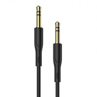 Juodas audio adapteris 3,5mm į 3,5mm Borofone BL1