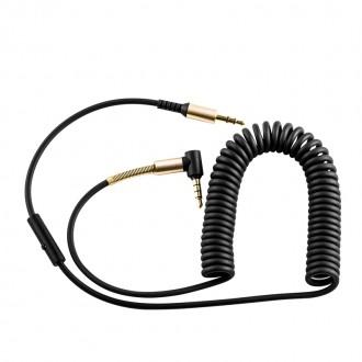 Juodas Audio adapteris Hoco UPA02 AUX 3,5mm į 3,5mm su mikrofonu