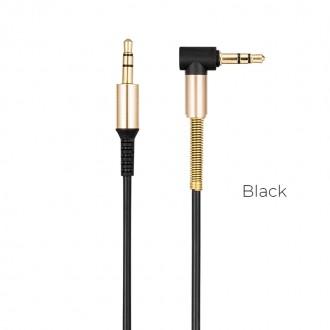 Juodas audio adapteris Hoco UPA02 AUX 3,5mm į 3,5mm