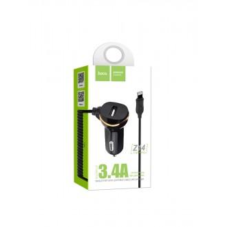 Juodas automobilinis įkroviklis HOCO Z14 USB + lightning (3.1A)