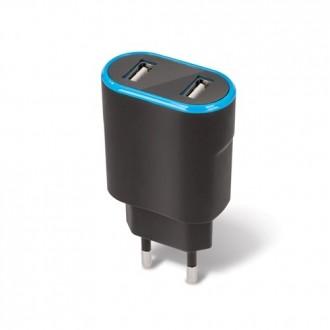 Juodas įkroviklis buitinis Forever TC-03 su dviem USB jungtimis (2.4A)