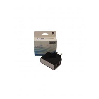 Juodas įkroviklis buitinis su USB jungtimi (dual) (1A+2A)