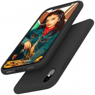 """Juodas silikoninis dėklas Apple iPhone X / XS telefonui """"Liquid Silicone"""" 2.0mm"""
