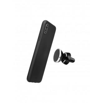 "Juodas silikoninis dėklas Apple iPhone XS Max telefonui ""Soft Case Magnet"""