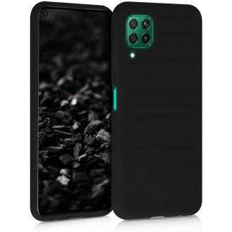 """Juodas silikoninis dėklas Huawei P40 Lite telefonui """"Liquid Silicone"""" 1.5mm"""