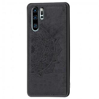 Juodas silikoninis dėklas ''Mandala'' su medžiaginiu atvaizdu telefonui Samsung S21 Ultra