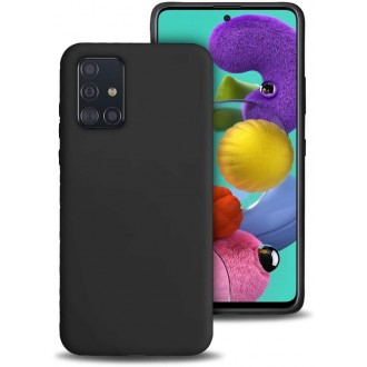 "Juodas silikoninis dėklas Samsung Galaxy A515 A51 telefonui ""Liquid Silicone"" 1.5mm"