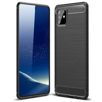 """Juodas silikoninis dėklas Samsung Galaxy A715 A71 telefonui """"Carbon Lux"""""""