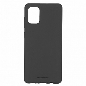 "Juodas silikoninis dėklas Samsung Galaxy A715 A71 telefonui ""Mercury Soft Feeling"""