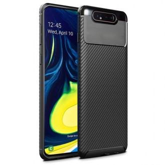 """Juodas silikoninis dėklas Samsung Galaxy A805 A80 telefonui """"Carbon Fokus"""""""