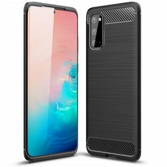 """Juodas silikoninis dėklas Samsung Galaxy G981 S20 telefonui """"Carbon Lux"""""""