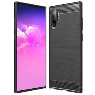 """Juodas silikoninis dėklas Samsung Galaxy Note 10 Plus telefonui """"Carbon Lux"""""""