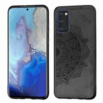 Juodas silikoninis dėklas su medžiaginiu atvaizdu Samsung Galaxy G981 S20 telefonui