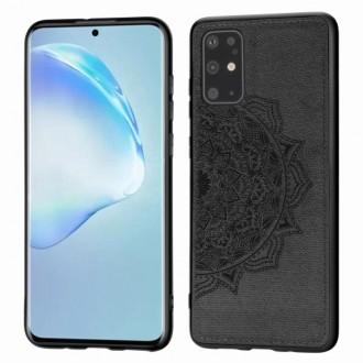 Juodas silikoninis dėklas su medžiaginiu atvaizdu Samsung Galaxy G986 S20 plus telefonui
