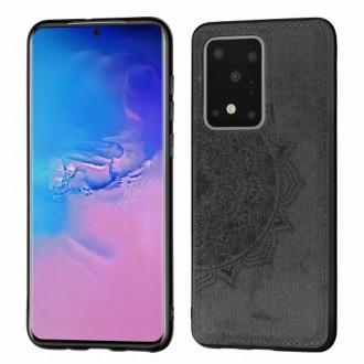 Juodas silikoninis dėklas su medžiaginiu atvaizdu Samsung Galaxy G988 S20 Ultra telefonui
