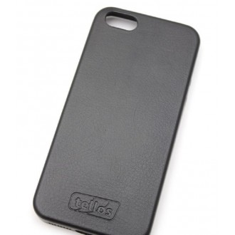 Juodas dirbtinės odos dėklas Tellos ''Leather case'' telefonui Apple iPhone 5 / 5S