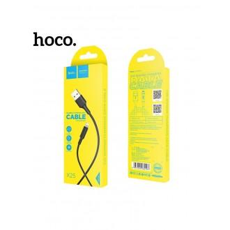Juodas USB kabelis HOCO X25 lightning 1m