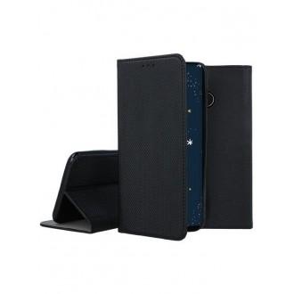 """Juodos spalvos atverčiamas dėklas Huawei P30 Lite telefonui """"Smart Magnet"""""""
