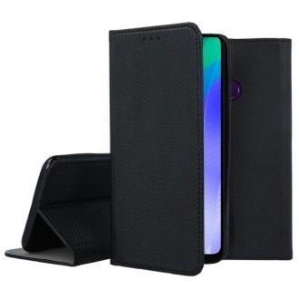 """Juodos spalvos atverčiamas dėklas Huawei Y6P telefonui """"Smart Magnet"""""""