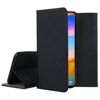 """Juodos spalvos atverčiamas dėklas LG Velvet telefonui """"Smart Magnet"""""""
