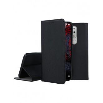 """Juodos spalvos atverčiamas dėklas Nokia 6.1 Plus X6 2018 telefonui """"Smart Magnet"""""""