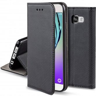 """Juodos spalvos atverčiamas dėklas Samsung Galaxy A510F A5 2016 telefonui """"Smart Magnet"""""""