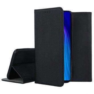 """Juodos spalvos atverčiamas dėklas Xiaomi Redmi Note 8 telefonui """"Smart Magnet"""""""