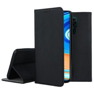"""Juodos spalvos atverčiamas dėklas Xiaomi Redmi Note 9 telefonui """"Smart Magnet"""""""