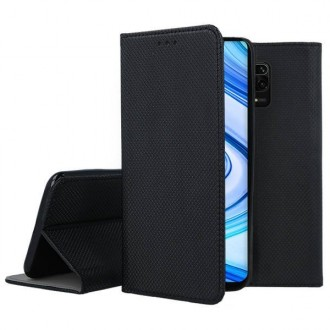 """Juodos spalvos atverčiamas dėklas Xiaomi Redmi Note 9S / Note 9 Pro telefonui """"Smart Magnet"""""""
