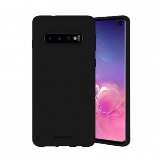 """Juodos spalvos dėklas """"Mercury Silicone Case"""" Samsung Galaxy G973 S10 telefonui"""