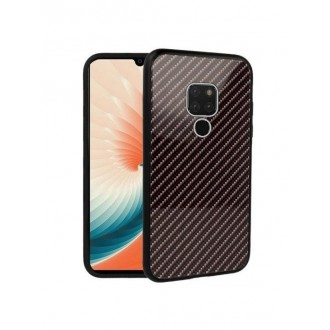 Juodos/rudos spalvos dėklas ,,Carbon Glass,, Huawei Mate 20 telefonui