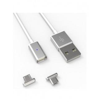 """Magnetinis USB kabelis """"microUSB""""+""""Lightning"""" rožinis 1.0m"""