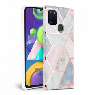 Rožinis dėklas su marmuro efektu Samsung Galaxy A41 telefonui