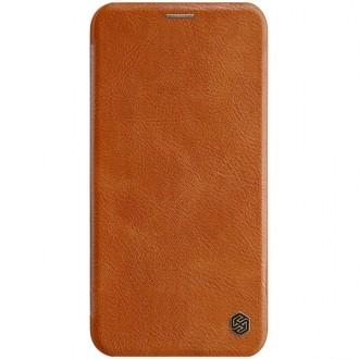 """Odinis rudas atverčiamas dėklas Apple iPhone 11 Pro telefonui """"Nillkin Qin"""""""