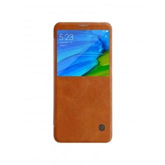 """Odinis rudas atverčiamas dėklas Xiaomi Redmi Note 5 Pro telefonui """"Nillkin Qin S-View"""""""
