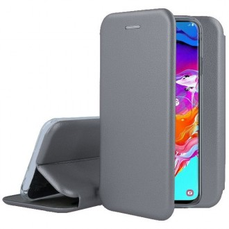 """Pilkas atverčiamas dėklas Samsung Galaxy A705 A70 telefonui """"Book Elegance"""""""