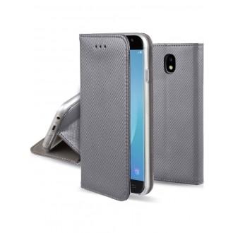 """Pilkas atverčiamas dėklas Samsung Galaxy J530 J5 2017 telefonui """"Smart Magnet"""""""